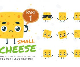 Small cheese cartoon character vector