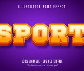 Sport text 3D editable vector