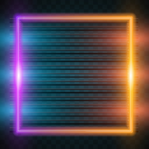 Square two color neon backgrounds vector