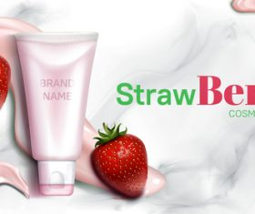 Strawberry and berry ingredients cosmetic ads vector