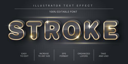 Stroke editable font effect text vector