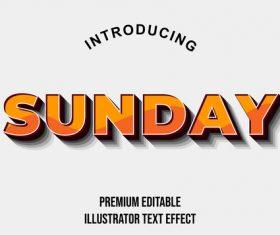 Sunday editable font effect text illustration vector