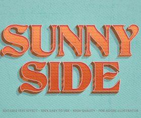 Sunny side editable font effect text vector