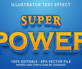 Super power editable font ffecte text vector