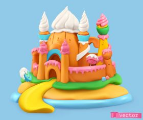 Sweet candy landscape 3d realistic illustrations vector