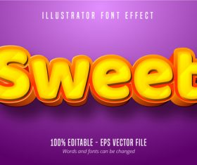 Sweet text 3D editable font vector