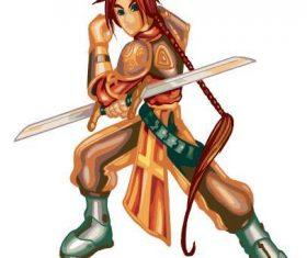 Swordsman cartoon character vector