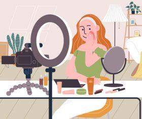Teach you makeup webcast vector