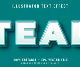 Teal editable font effect text illustration vector