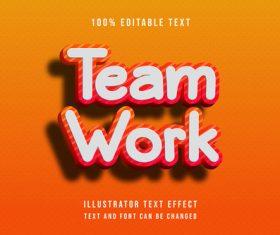 Team work editable font ffecte text vector