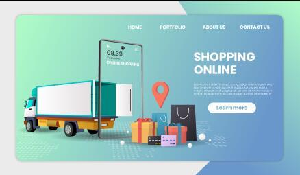 Timely delivery for shopping template landing page vector