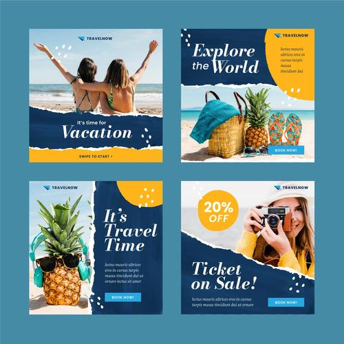Travel instagram post template vector