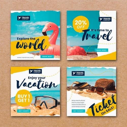 Travel sales instagram post template vector