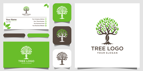 Tree business card logo vector
