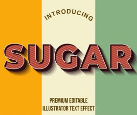 Tricolor editable font effect text illustration vector