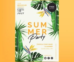 Tropical plant noodle party card vector