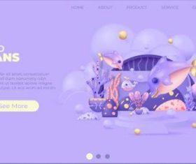 Watch online aquarium website page illustrations vector