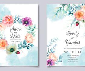 Watercolor flowers wedding invitation card vector