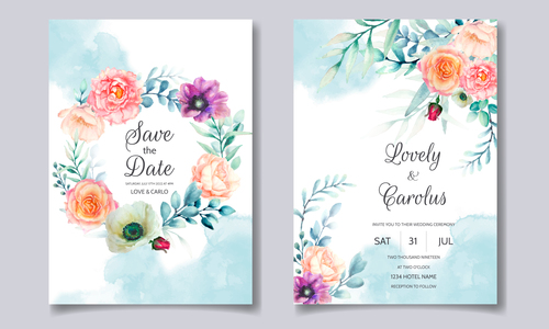 Watercolor flowers wedding invitation card vector