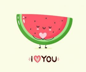 Watermelon cartoon smile vector