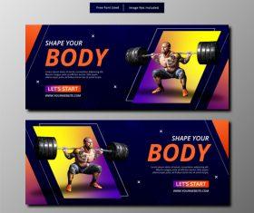 Weightlifting exercise banner vector