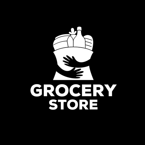 White grocery store logo vector
