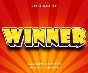 Winner editable font ffecte text vector