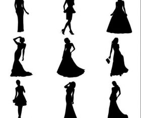 Woman silhouette vector in dress