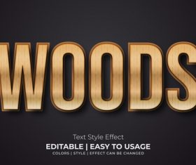 Woods editable font effect text illustration vector