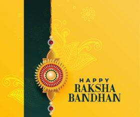 Yellow background Aksha bandhan greeting card vector