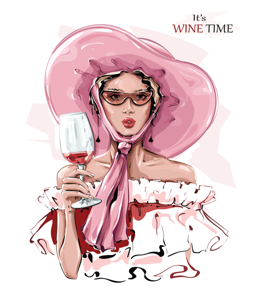 Young woman drinking wine vector