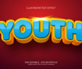 Youth editable font effect text vector