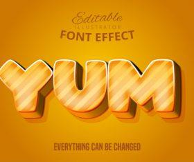 Yum editable font effect text illustration vector