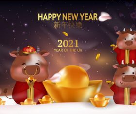 2021 year of the ox greeting card vector