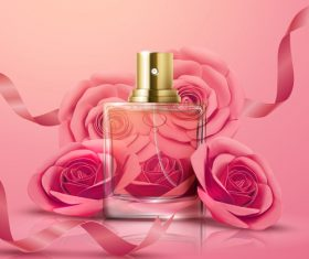 3D illustration perfume advertising vector
