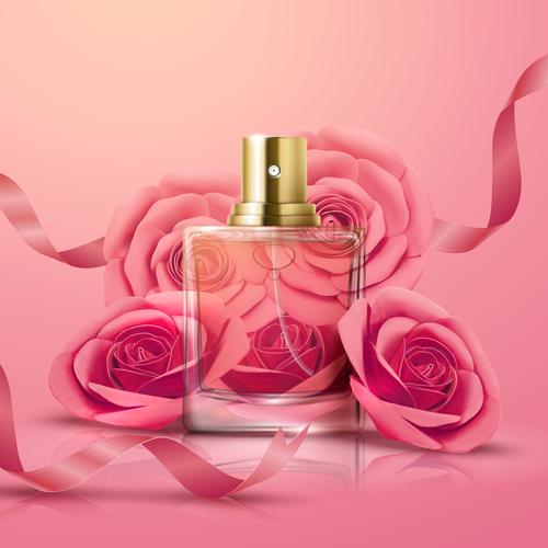 3D illustration perfume advertising vector