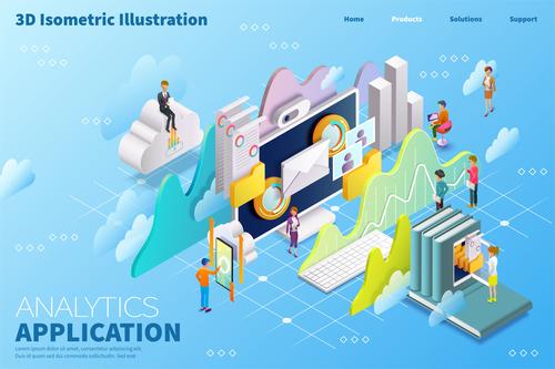 3D isometric illustration vector