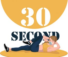 Abdominal crunch fitness vector