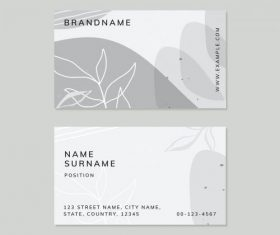 Abstract botanical Memphis business card vector