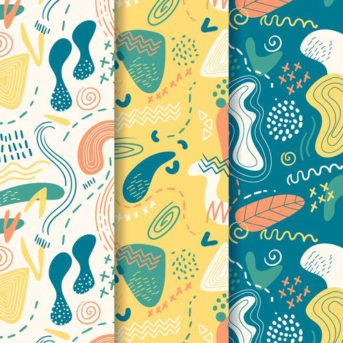 Abstract three color seamless pattern vector