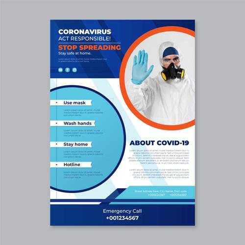 Act pesponsible COVID 19 flyer vector