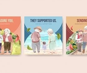 Ads Template with National Grandparents Day vector