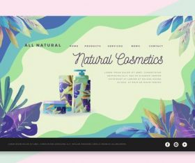 All natural cosmetics landing page vector