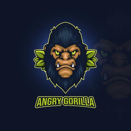 Angry gorilla emblem gaming vector