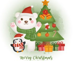 Animal and christmas tree background vector