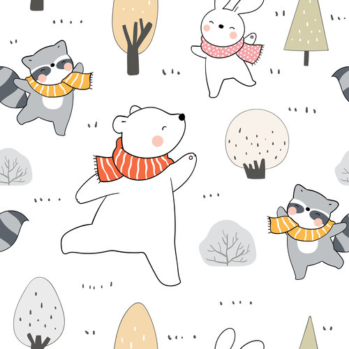 Animals in winter forest illustrations vector
