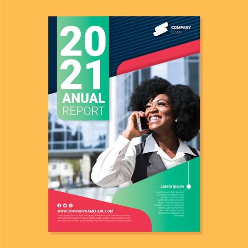 Annual report cover flyer vector