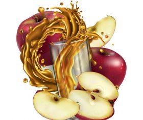 Apple and apple juice realistic illustration vector
