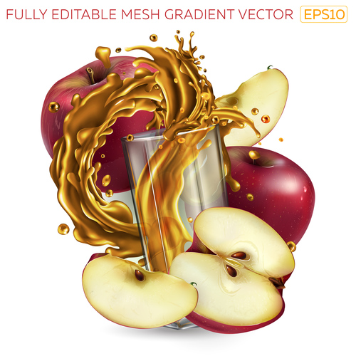 Apple and apple juice realistic illustration vector