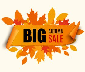 Autumn leaves banner big sale vector